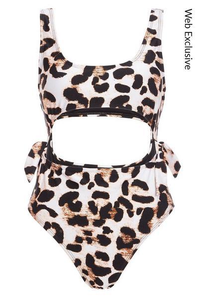 Leopard Print Cut Out Swimsuit